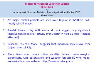 Inputs for Gujarat Weather Watch  08  July 2014 By