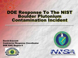 DOE Response To The NIST Boulder Plutonium Contamination Incident