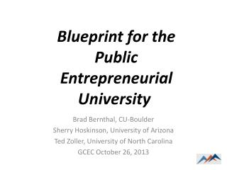 Brad Bernthal, CU-Boulder  Sherry  Hoskinson , University of Arizona