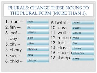 Plurals: Change these nouns to the plural form (more than 1).