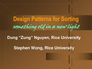 Design Patterns for Sorting something  old in a new light