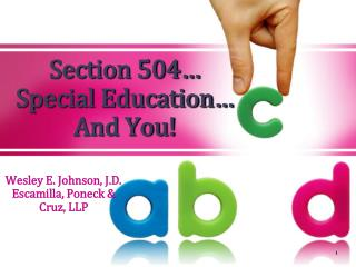 Section 504  Special Education  And You