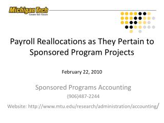 Payroll Reallocations as They Pertain to Sponsored Program Projects February 22, 2010