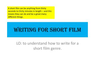 Writing for Short Film