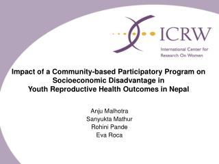 Impact of a Community-based Participatory Program on Socioeconomic Disadvantage in  Youth Reproductive Health Outcomes i