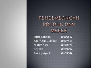 Pengembangan produk dan merek