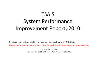 TSA S  System Performance Improvement Report, 2010