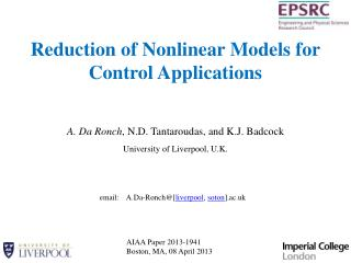 Reduction of Nonlinear Models for Control Applications