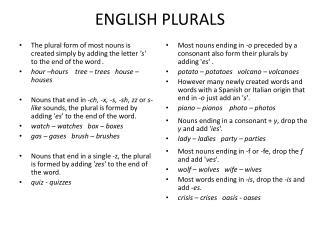ENGLISH  PLURALS