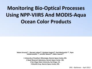 Monitoring Bio-Optical Processes Using NPP-VIIRS And MODIS-Aqua Ocean Color Products