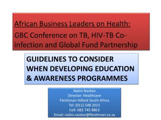 GUIDELINES to consider when developing education & awareness programmes