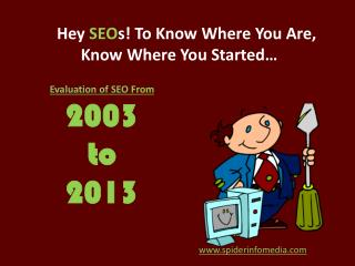 Evaluation of SEO From  2003  to  2013