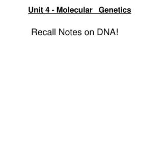 Recall Notes on DNA!