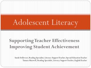 Supporting Teacher Effectiveness Improving Student Achievement