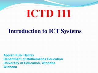 ICTD 111