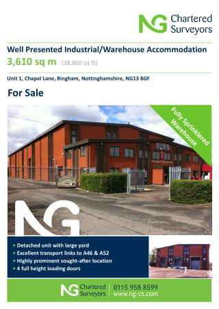 Well Presented Industrial/Warehouse Accommodation 3,610 sq m  (38,860 sq ft)