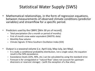 Statistical Water Supply (SWS)