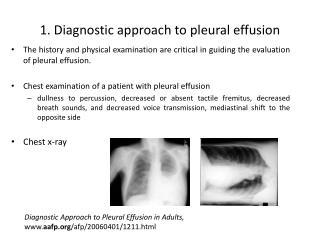 1. Diagnostic  approach to pleural effusion