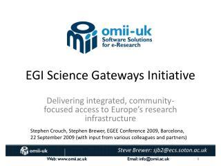 EGI Science Gateways Initiative