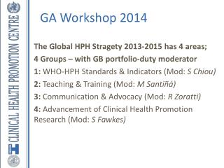 The Global HPH Stragety 2013-2015 has 4 areas; 4 Groups – with GB portfolio-duty moderator