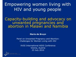Empowering women living with HIV and young people