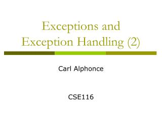 Exceptions and Exception  Handling (2)
