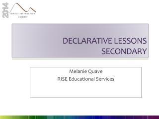 Declarative lessons secondary