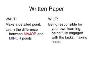 Written Paper