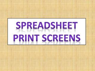 Spreadsheet print screens