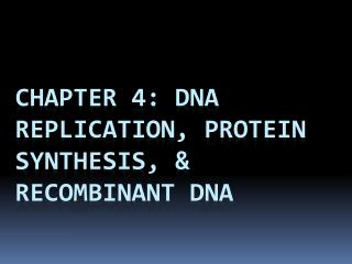 Chapter 4:  DNA  Replication, Protein synthesis, & Recombinant dNA