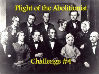 Plight of the Abolitionist  Challenge #4