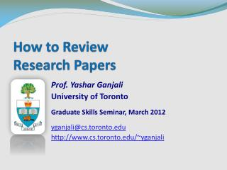 How to Review  Research Papers
