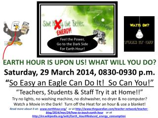 Feel the Power, Go to the Dark Side For Earth Hour!