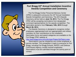 Fort Bragg 24 th  Annual Installation Incentive Awards Competition and Ceremony