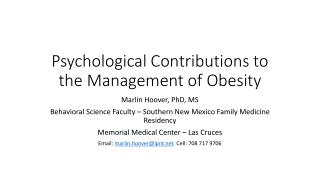 Psychological Contributions to the Management of Obesity