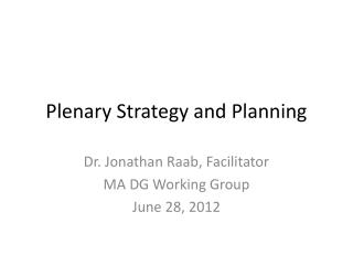 Plenary Strategy and Planning