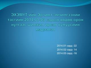 2014.01 сард  - 22 2014.02 сард -  1 4 2014.03  сард  - 16