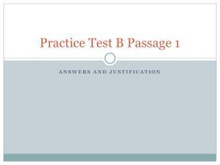 Practice Test B Passage 1