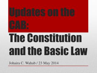 Updates on the CAB: The Constitution and the Basic Law