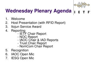 Wednesday Plenary Agenda