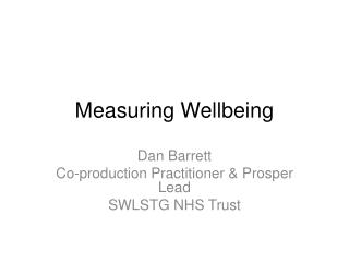 Measuring Wellbeing