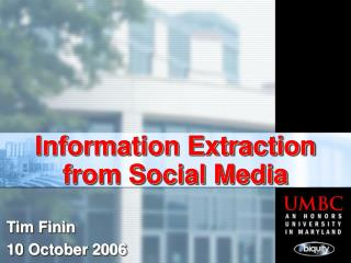 Information Extraction from Social Media