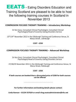 COMPASSION FOCUSED THERAPY TRAINING � Introductory Workshop