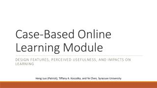 Case-Based Online Learning  Module