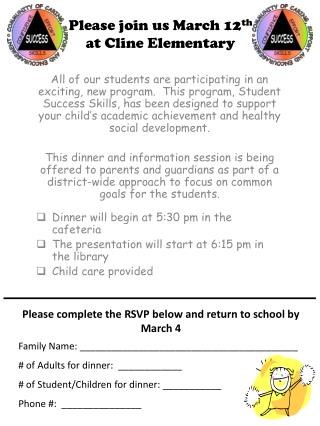 Please join us March 12 th at Cline Elementary