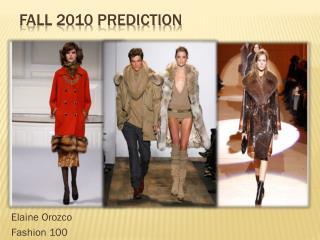 Fall 2010 Prediction