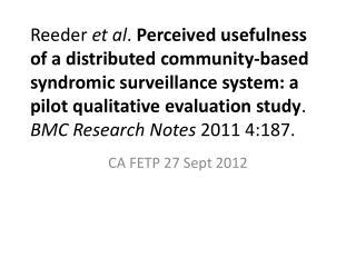 CA FETP 27 Sept 2012