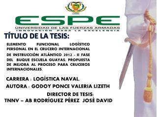 TÍTULO DE LA  TESIS: