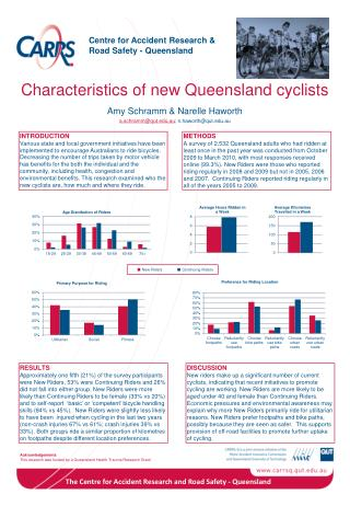 Characteristics of new Queensland cyclists