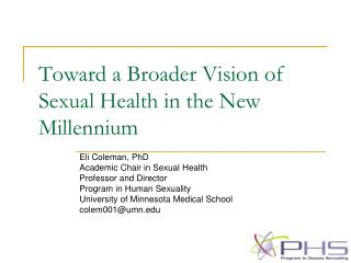 Toward a Broader Vision of Sexual Health in the New Millennium